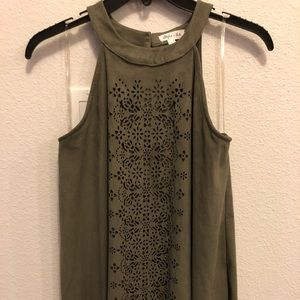 Olive velvet tank top with lace detail on front